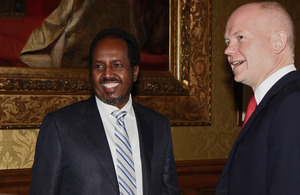 Foreign Secretary William Hague meeting H.E. Mr Hassan Sheikh Mohamud, President of the Federal Republic of Somalia in London, 5 February 2013.