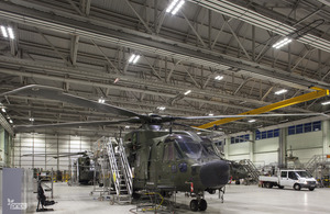 The improved lighting in a hangar at RAF Benson [Picture: PriDE 2013]