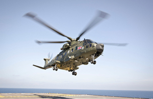 UK Commando Helicopter Force Merlins arriving in Sasebo