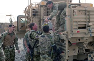 Supplies being delivered to a patrol base by the Immediate Replenishment Group in Nahr-e Saraj [Picture: Leading Airman (Photographer) Rhys O'Leary, Crown Copyright/MOD 2013]