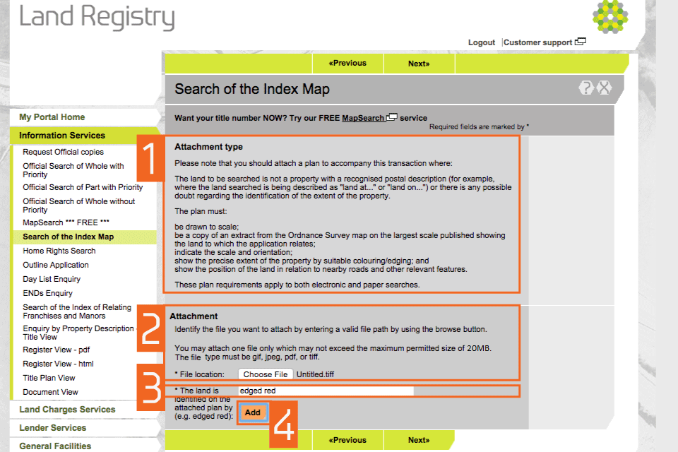 HM Land Registry Portal: Request A Search Of The Index Map   GOV.UK