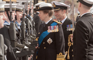 Her Royal Highness The Princess Royal inspects sailors of HMS Collingwood during her visit to Fareham [Picture: K Woodland, Crown Copyright/MOD 2012]