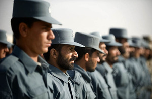 A graduation parade of Afghan Uniform Police at the Lashkar Gah Training Centre  [Picture: Sergeant Wes Calder RLC, Crown Copyright/MOD 2011]