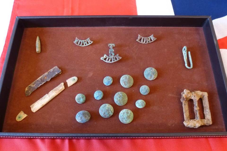 The recovered artefacts belonging to Private Parker that led to his identification, Crown Copyright, All rights reserved