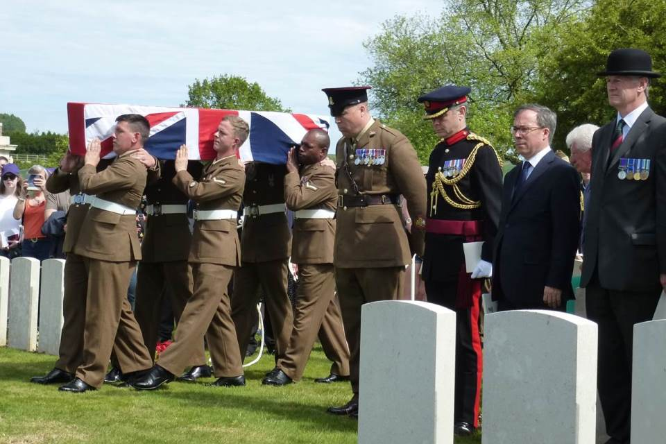 The bearer party carrying the coffin of Private Parker in view of senior dignitaries (left to right: WO Andrew Morrison; Defence Attaché to France and Lt Col David O'Kelly), Crown Copyright, All rights reserved