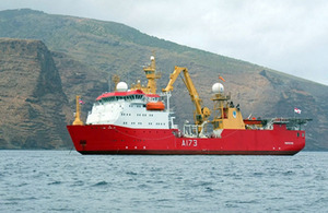 HMS Protector off St Helena [Picture: Crown Copyright/MOD 2012]