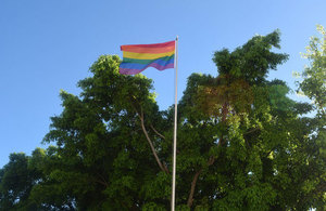 Rainbow flag flying at British Embassy Havana