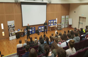 PC Brown giving a talk to students at the Lakes College