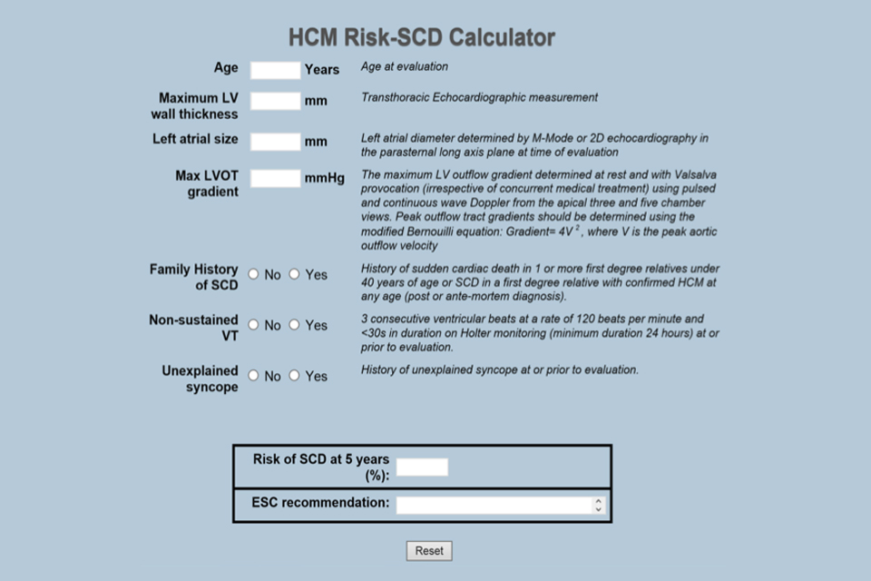 Image showing screenshot of risk calculator