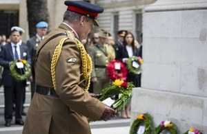 Commander of Joint Forces Command General Sir Chris Deverell laid a wreath at the Cenotaph. Crown Copyright.