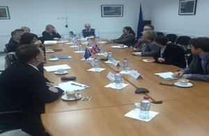 Delegates meet the Head of Mission at EULEX HQ, Pristina, Kosovo