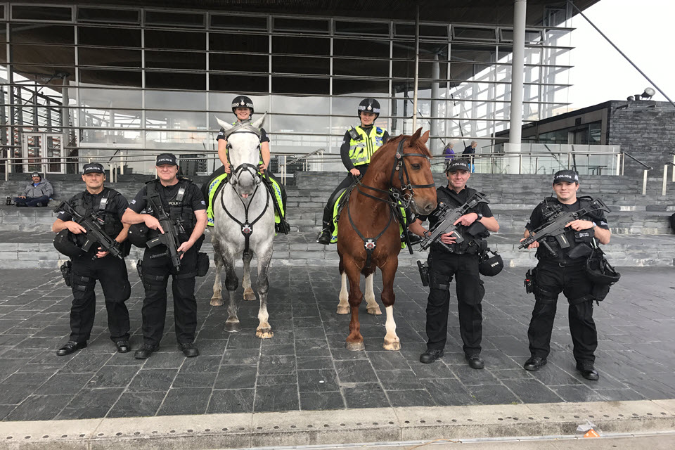 CNC officers outside the Welsh Assembly