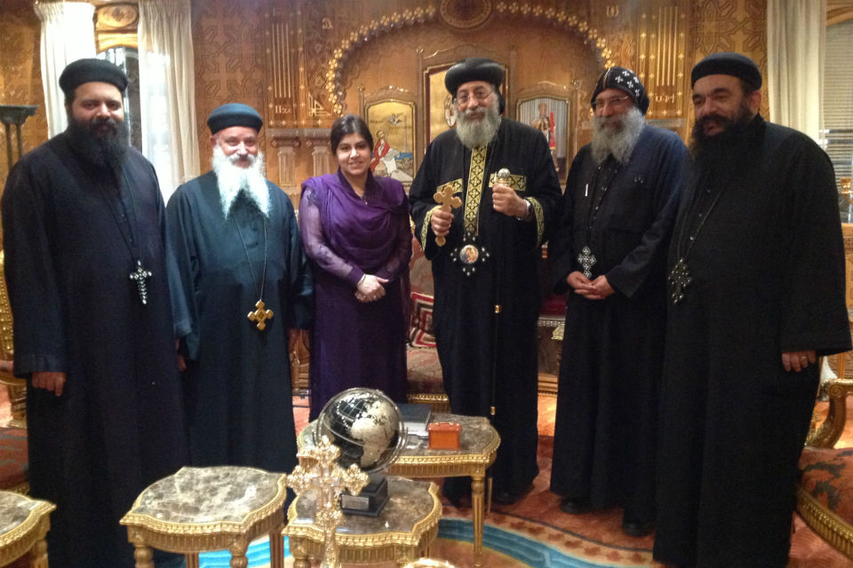 Baroness Warsi with His Holiness Pope Tawadros II