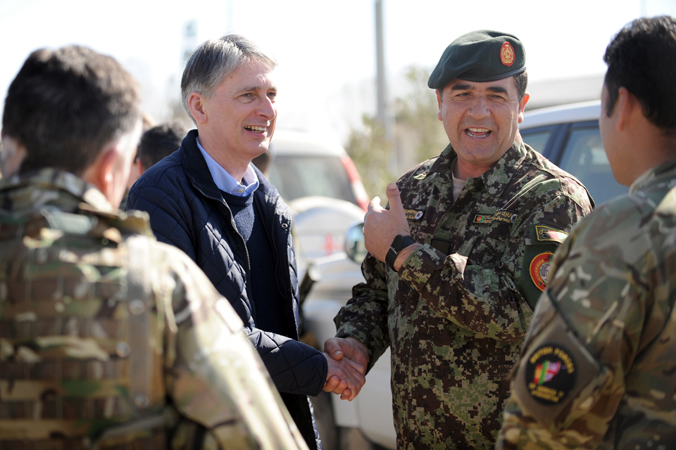 Philip Hammond with Brigadier General Sherin Shah