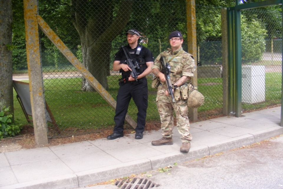 Joint patrol at Porton Down. Photo: Ministry of Defence Police. All rights reserved