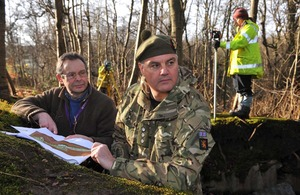 Colonel Philip Bates and Phil Abramson mapping the area of the First World War trenches at Dreghorn Barracks in Edinburgh [Picture: Mark Owens, Crown Copyright/MOD 2013]