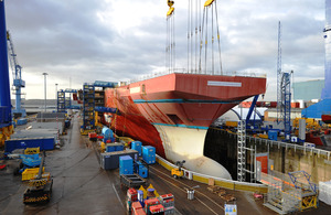 The assembled bow unit of the Royal Navy carrier HMS Queen Elizabeth at Rosyth in Scotland [Picture: Copyright Billy Cullen, BAE Systems]
