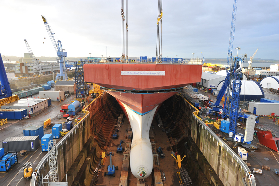 Bow unit of the Royal Navy carrier HMS Queen Elizabeth at Rosyth
