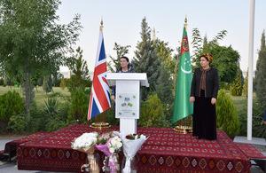 Ambassador Thorda Abbott-Watt and Chairperson of the Trade Unions of Turkmenistan Mrs Gurbangul Bayramova