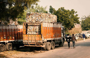 A truck loaded with industrial waste in Kanpur, India