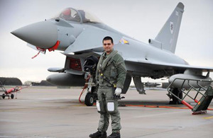 Captain Marc-Antoine Gerard after his solo flight in an RAF Eurofighter Typhoon [Picture: Senior Aircraftman Daniel Herri, Crown Copyright/MOD 2013]