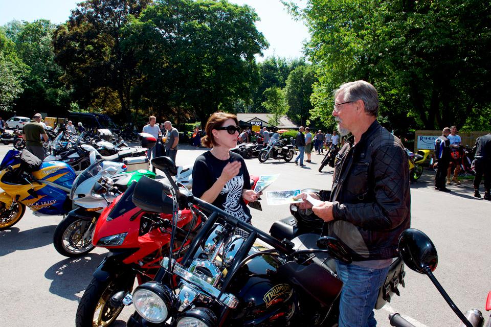image showing Highways England team speaking to a biker