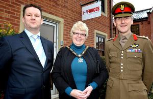 Brigadier Harry Nickerson (far right), Councillor Margaret Handley (centre), Mayor of the Borough of Broxtowe, and Rick Harrington [Picture: Corporal Gabriel Moreno, Crown Copyright/MOD 2013]