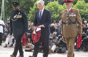 Sir Michael Fallon at the unveiling of the memorial in Brixton today