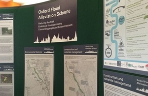 A display board from the Oxford flood alleviation scheme drop in session