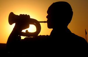 A British Army bugler plays the last post at sunset (stock image) [Picture: Sergeant Keith Cotton, Crown Copyright/MOD 2009]