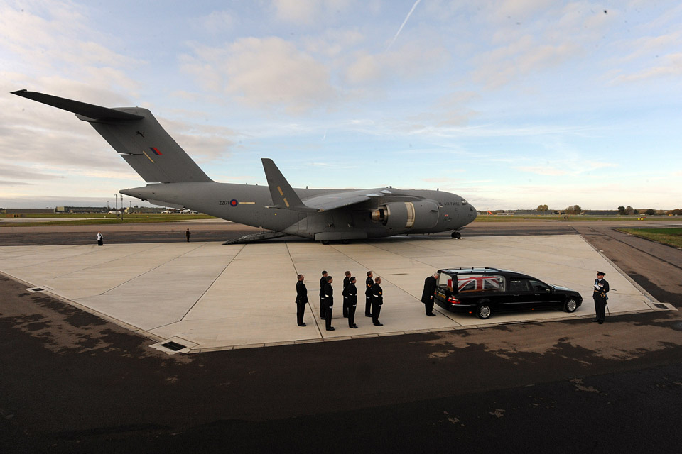 A repatriation ceremony takes place at RAF Brize Norton