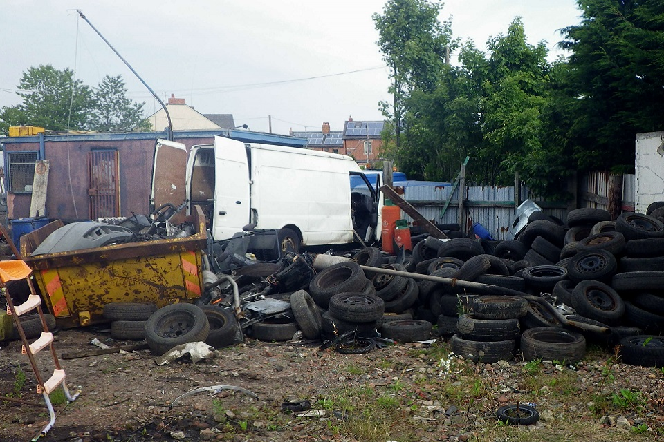 Image shows waste on land at the scrap yard
