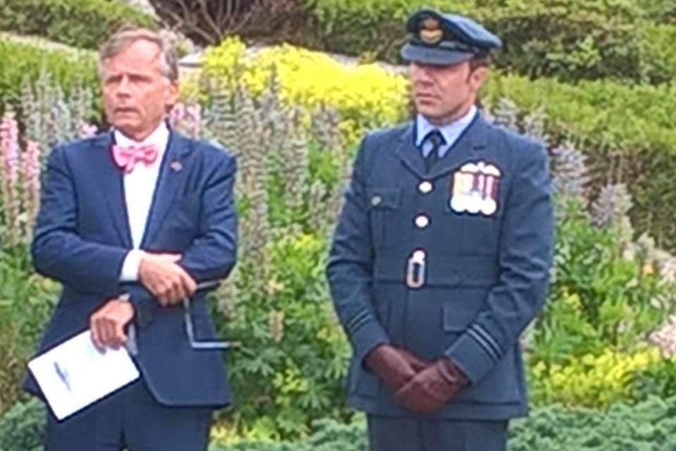 (left to right) Henrik Kleis, Hon Consul representing the British Ambassador to Denmark; and Flight Lieutenant Ben Wallis, representing HM Armed Forces and Chief of Defence Staff, Crown Copyright, All rights reserved
