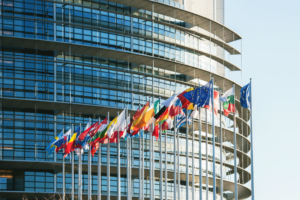 EU Flags in front of the European Parliament