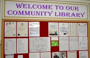 A noticeboard in a community library