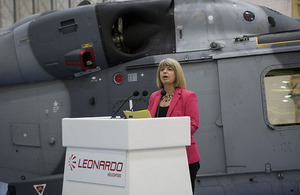 Minister for Defence Procurement Harriett Baldwin announcing a £271 million deal with Leonardo for in-service support and training on the UK's Wildcat fleet in January. Crown Copyright