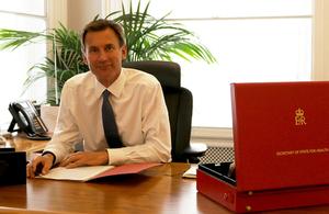 Jeremy Hunt at his desk