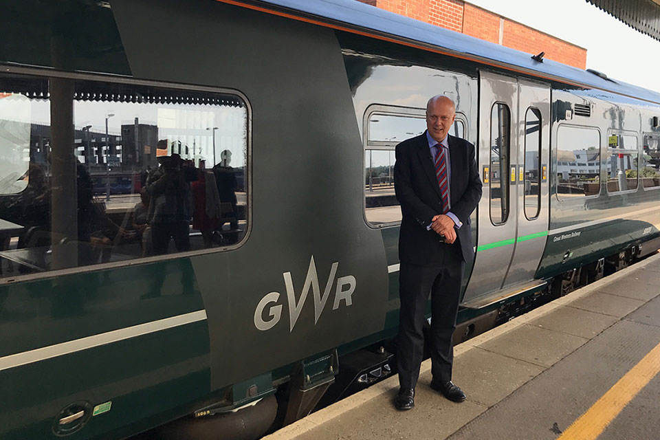 Picture of Chris Grayling in front of a Great Western Railway train.