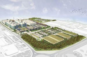 Artist's impression showing aerial view of the proposed PHE science hub.
