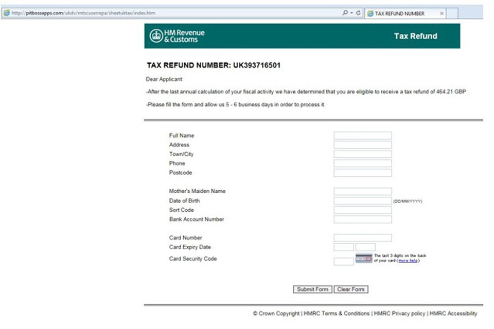 Phishing emails and bogus contact hm revenue and customs - Hm revenue and customs office address ...