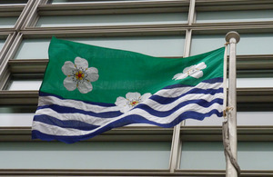 The Cumbrian flag flying outside DCLG headquarters.