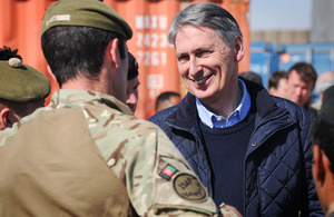 Philip Hammond meets British troops in southern Afghanistan [Picture: Corporal Mike O'Neill, Crown Copyright/MOD 2013]
