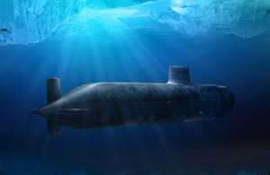 Computer-generated image of an Astute Class submarine transiting under an ice sheet [Picture: BAE Systems]