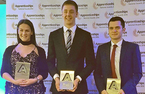 Deanna, Adam and Peter all collected awards at the 2016 National Apprenticeship Awards