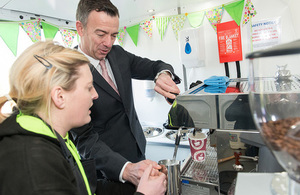 Sellafield Ltd's Martin Chown is shown the ropes in the brand new coffee van