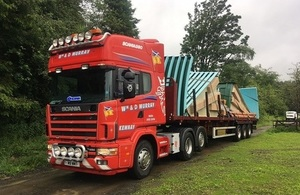 Image shows lorry transporting the new tanks