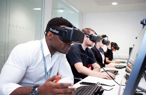 Picture of apprentices using virtual reality technology.