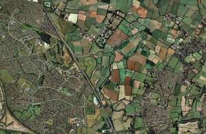 Aerial picture of part of England.