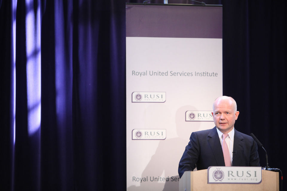 Foreign Secretary William Hague speaking at RUSI