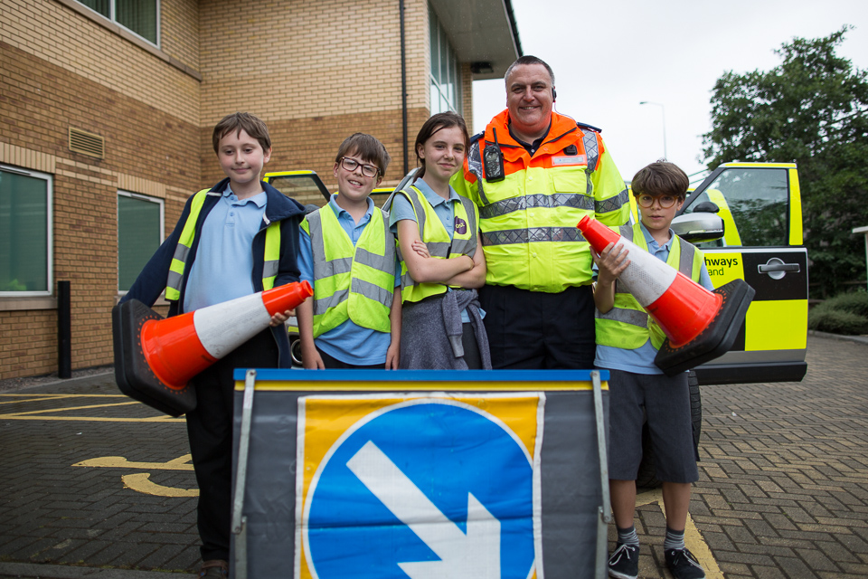 image of Traffic Officer and St Werburgh's pupils at Highways England's Regional Control Centre